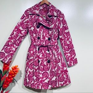 Merona Pink  Paisley   Belted Trench Coat